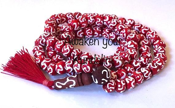 Om Aum Bhuddist Prayer Beads Handmade Japa Mala  Beads Necklace || Aum Om Embossed Wooden Rosary mala || Red Black Turquoise Aum 108+1 Beads