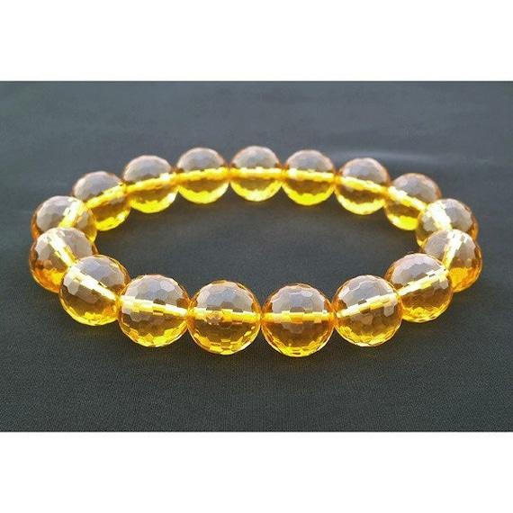 Powerful faceted 10 mm Citrine Hindu Prayer Beads Yoga Mala Bracelet - For Abundance and Highly Vibrational Positive Energy