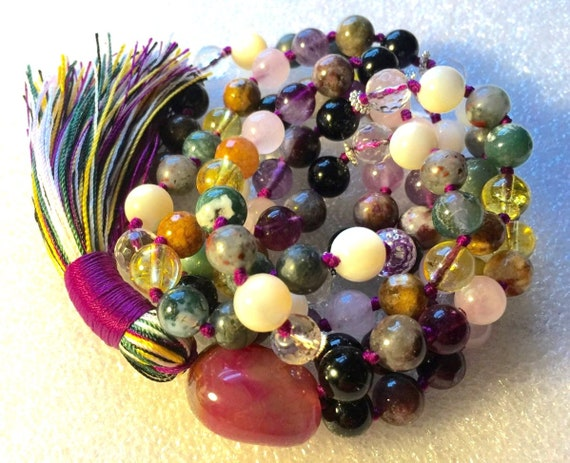 108 Mala Beads Necklace, Psychic Ability Vision, Dimentia, tourmaline, onyx citrine, pearl, amethyst, bloodstone, moss agate. quartz crystal