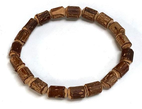 Natural Raw Holy Basil Tulsi Hand made Mala beads bracelet || Cylindrical Tulsi Mala Bracelet  || Holy Tulsi Basil Mala Bracelet || Tulsai