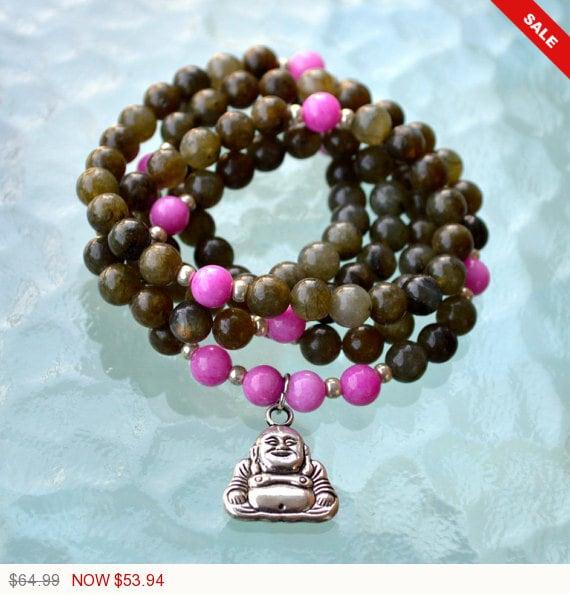 Sale - Christmas 108 Buddha Mala Beads, Mantra Beads, 8 mm Power Stone Labradorite and Pink Jade Mala to Stimulate Imagination, Enthusiasm &