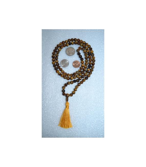 Tiger Eye Mala Beads Necklace Tigers Eye Jewelry 108 Mantra Meditation Necklace Gemstone Chakra Healing Beaded spiritual gifts for women men