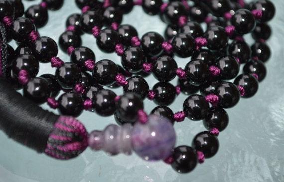 108 knotted AAA Grade Tourmaline Mala beads Necklace, Black Tourmaline Protection Mala, Root Chakra Healing Mala, Schorl Mala Beads Necklace