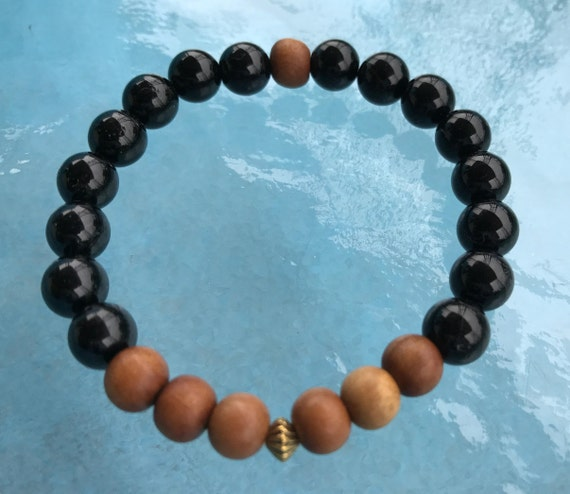 Tourmaline & Sandalwod Bracelet, Sandalwood Mala Bracelet, Wrist Mala Bracelet, Wood Bracelet, Healing Bracelet, Yoga Bracelet, Buddhist