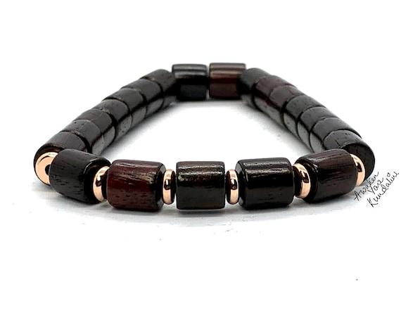Brown Red Wood Bead Bracelet, Tube Rosewood Beaded Bracelet, Wood Stacking Bracelet, Mens Beaded Bracelet, Womens Bead Bracelet, Wooden Bead