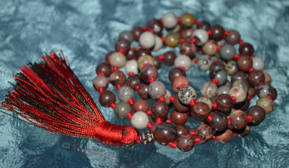 108 Moss Jasper Knotted Chalcedony Mala Beads Necklace - Harmony in relationships, Protection, Empowerment, Warding off ill habits, Insomnia