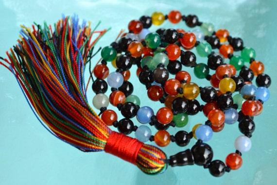 Chakra Mala Beads Necklace 9 Planets Navratan Hand Knotted - Blessed Karma Nirvana Meditation 6mm 108 Prayer Beads For Awakening Kundalini