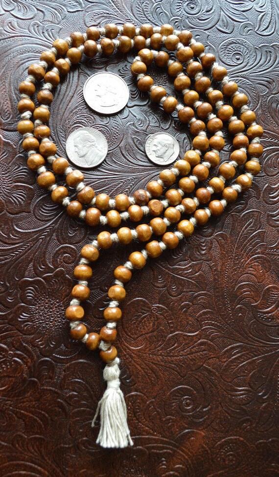 108 Tulsi Holy Basil Hand Knotted Mala Beads Necklace - Karma, Nirvana, Meditation, 8mm Prayer Beads, For Awakening Chakra Kundalini