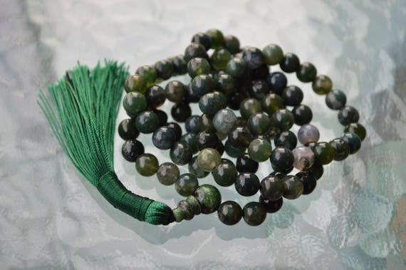 Heart Chakra Green Moss Agate Mala 8mm 108 Bead Necklace Unconditional love Understanding Abundance Forgiveness Trust Compassion Child birth