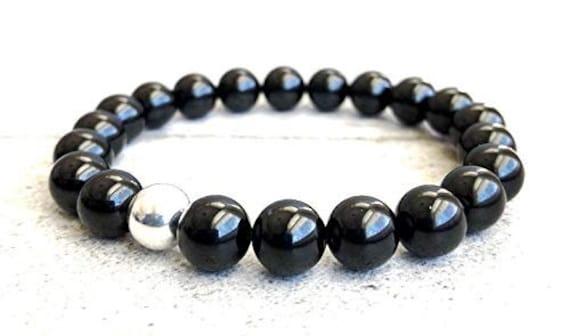 Empath Black Tourmaline Parad Mala Beaded Bracelet Protects from Negative Energy EMF Empath Protection October Birthstone Beaded Bracelet