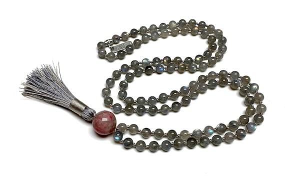 Natural AAAAA Grade Labradorite Hand knotted Mala Beads Necklace  Blessed Energized Karma Nirvana Meditation 108 Prayer Bea Healing crystals