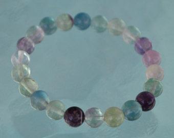 8 mm Fluorite Bracelet, Natural Rainbow Fluorite, Rainbow Bracelet Removes Stress & Negativity, Truth Revealing, Psychic Balance, Arthri