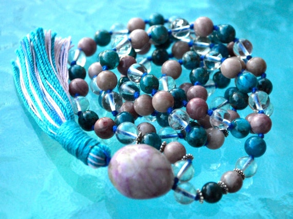 Sterling Silver 925 Apatite Quartz Rhodonite 108 Hand Knotted Mala Beads Necklace - For Weight Loss, Emotional Healing, Stress Relief