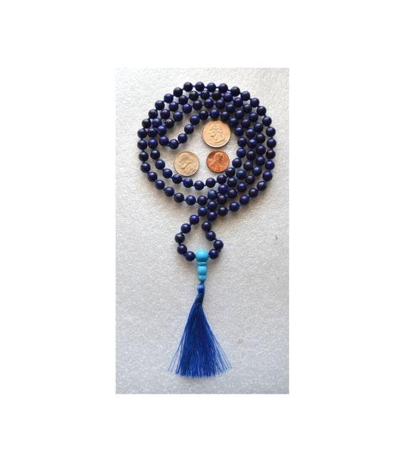 Lapis Lazuli Hand Knotted Buddhist Mala Beads - Protection, Openiing Chakras, Purification & Cleansing, Meditation, Turquoise and Blue M