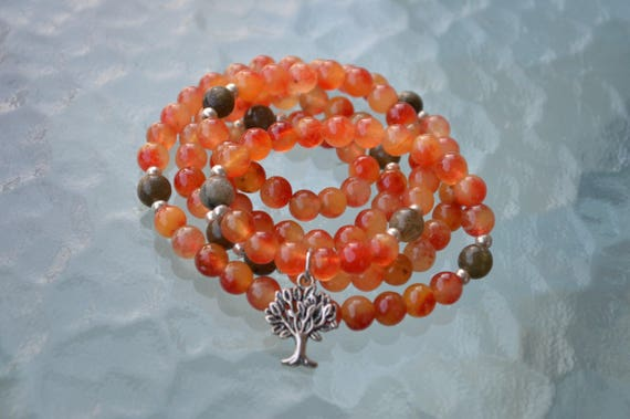 Tree of Life, 108 Mala Beads, Orange Fire Brick Agate Labradorite Prayer Beads for Protection, Courage,Stress Relief, Bad Planetary Effects