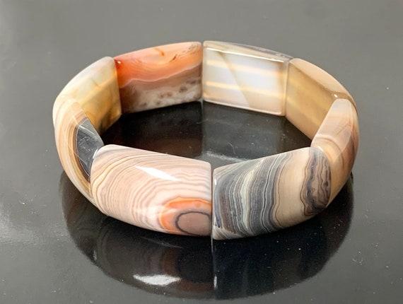 Botswana Agate Bracelet, Botswana Agate Stone Bangle Bracelet, Botswana Agate Stretch Bracelet, Healing Bracelet, Sunset Stone Bracelet