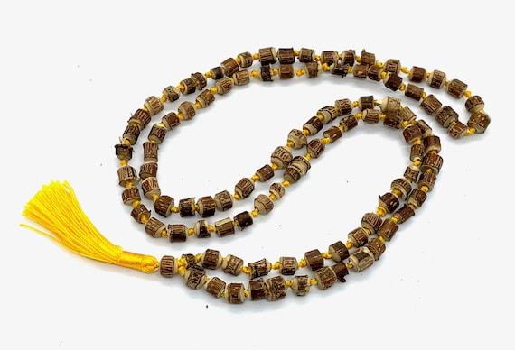 Natural Raw Tulsi Holy Basil Knotted Mala beads Necklace  || Tulsi Mala Bracelet  || Knotted Tulasi Mala in Yellow string || Wood mala beads