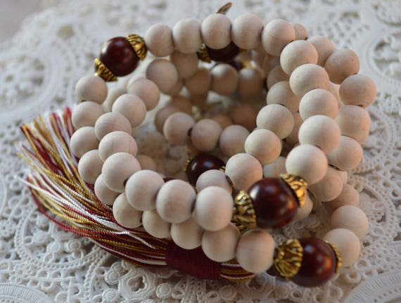 10 mm Tulsi and Rosewood Mala Beads Necklace, Genuine 12 mm Rosewood Mala Rosary, Wooden Red Half Mala, Energized Rosewood Quarter Mala