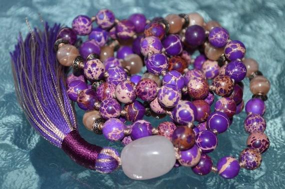 108 Purple Sea Sediment Necklace, Buddhist Mantra Mala Necklace, Meditation Beads, Zen Mala, Yoga Mala Necklace, Gemstone Mala Prayer Beads