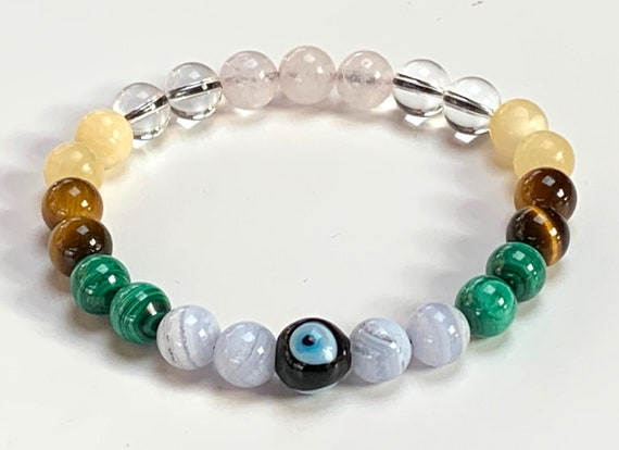 Crystals For Happiness mala bracelet Malachite Tiger Eye Calcite Blue Lace Agate Quartz Rose Quartz  Evil Eye Beads Bracelet Heart Chakra