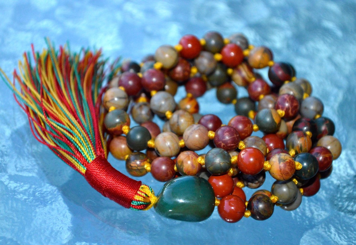 108 Mala Carnelian Picasso Jasper Beads Necklace Hand-Knotted in USA Tiger Eye