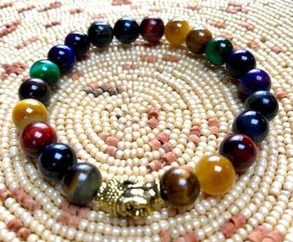 Cyber Monday Sale 8mm Tiger Eye Wrist Mala Beads Healing Bracelet - Gemini sunstone, power, Good luck, Protection,