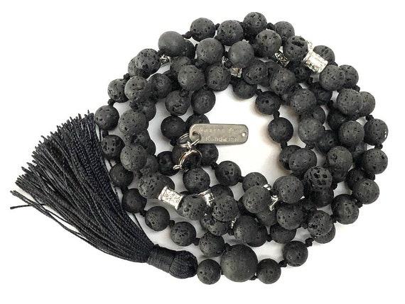 Basalt Lava Prayer Beads, 108 Mala Necklace, Lava Stone Necklace, Knotted Necklace, Black Mala, Knotted Mala Beads, Yoga Jewelry, Kali Mala