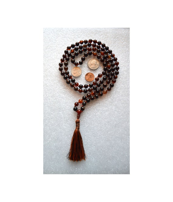 Natural Agate Hand Knotted Mala Beads Tassel Necklace - 108 Karma Yoga Prayer Beads For Protection, Courage & Success. Eliminates Bad Lu