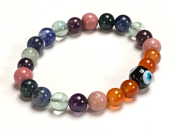 Crystals for Study Aid & Concentration Gemstone Bracelet Power Bead Bracelet - Students Crystals Bracelet, Mental Focus,Memory, Brain Power,