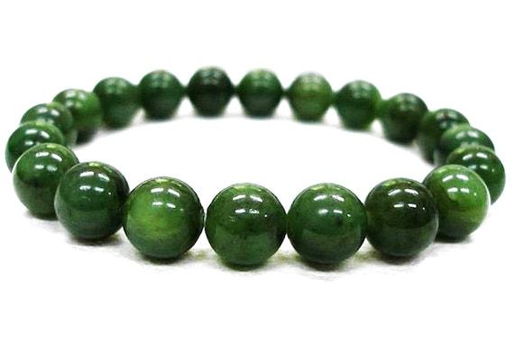 Energized 6mm 8 mm 10mm Green Nephrite Bracelet, Jade Bracelet, Canadian Nephrite Bracelet,Jade Jewelry,Nephrite Jade Bracelet,Canadian Jade