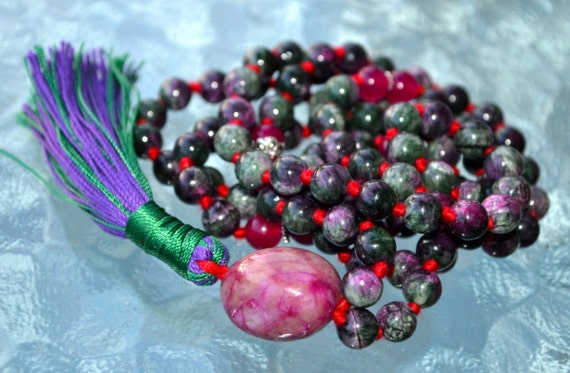 Sterling Silver Heart Chakra Anyolite Ruby Zoisite Magenta Jade Hand Knotted Beads Necklace Enhances connection between your brain and heart