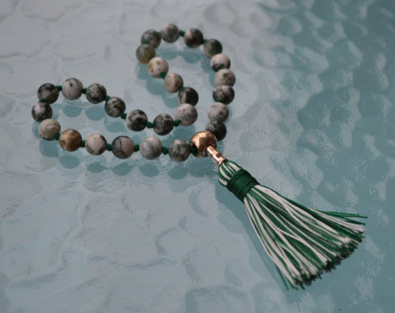 27+1 Green Tree Agate Beads Mala, Dendritic Agate Necklace silver Mala Creates a peaceful environment, Achieving Goals Heart Chakra, Earthy