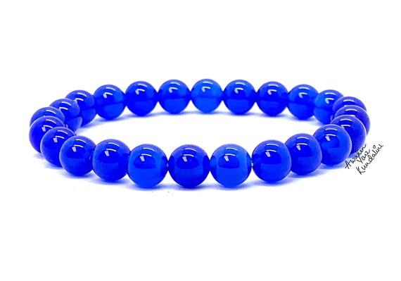 8mm Blue Jade Wrist Mala Beads Healing Bracelet - Blessed Karma Nirvana Meditation Prayer Beads For Awakening Chakra Kundalini