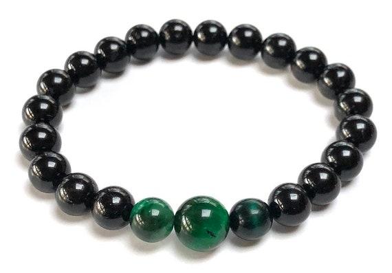 EMF Empath Protection Black Tourmaline Bracelet Green Tigers Eye and Tourmaline Wrist Mala Beads Bracelet Protection Bracelet Mens Jewelry