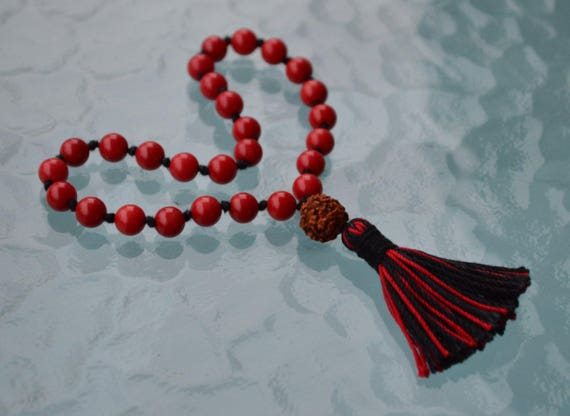 27+1 Red Coral Pocket Mala Beads Necklace - blood force energy, stimulating the bloodstream, depression, lethargy or deficient nutrition.