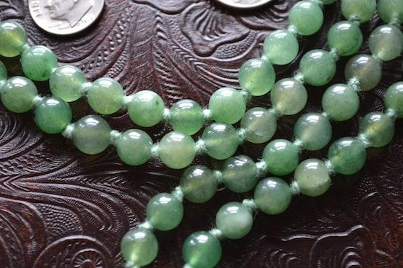 Mala Beads 108 Green Jade Hand Knotted Necklace - Energized Karma Nirvana Meditation 8mm Prayer Beads For Awakening Chakra Kundalini