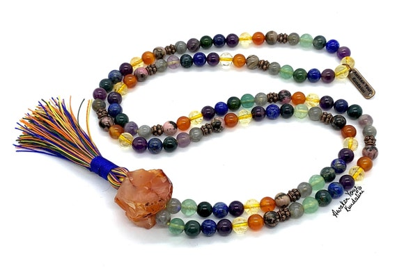 Healing Crystals for Immunity Support & viral Infections 108 Mala Beads Necklace Immune System booster Protection mala prayer beads
