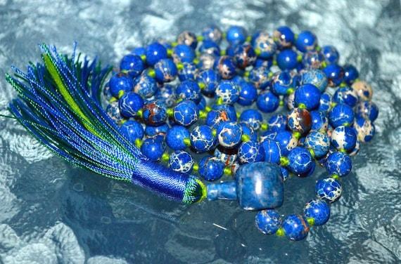108 Blue Sea Sediment Buddhist Mala Necklace Meditation Beads Zen Yoga Mala Positive Dreams Boosts Confidence Creativity Insomnia bereavemen