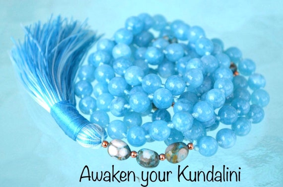 Raw Aquamarine Mala Beads Necklace, Aquamarine necklace, Birthstone Necklace Pisces Zodiac Jewelry Genuine Aquamarine Crystal Wrap Bracelet
