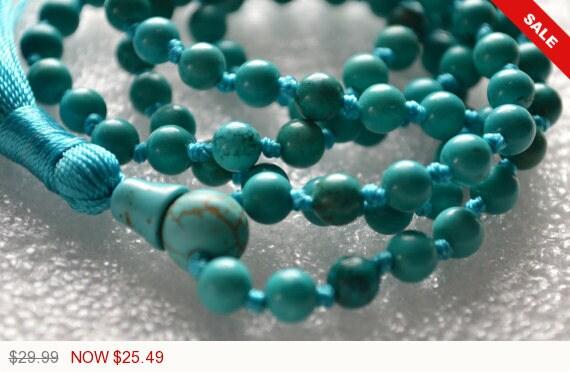 108 Turquoise Hand Knotted Mala Beads Necklace - Energized Karma Nirvana Meditation 6 mm Prayer Beads For Awakening Chakra Kundalini