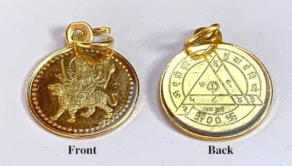 Sri Durga Bisa Beesa Yantra Navdurga Kavach Pendant Amulet - Blessed & Energized Gold Plated Beautifully Engraved Laminated YantraChristmas