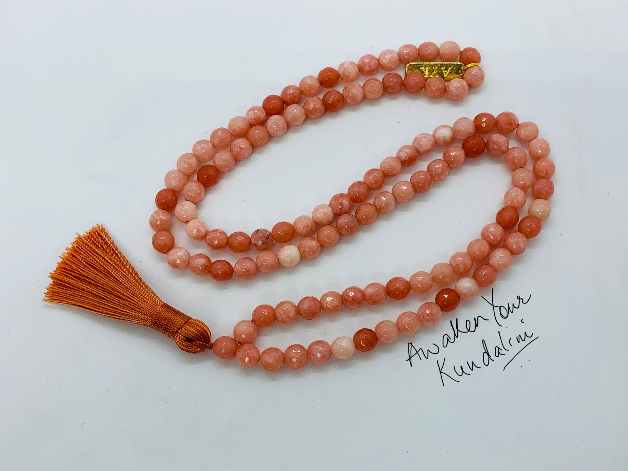 Orange Agate Necklace,108 Beads Mala Necklace,Orange Agate 6mm Beads,Stretchy,Orange Agate Bracelet,Prayer,Man,Woman,Protective,Yoga,Gift