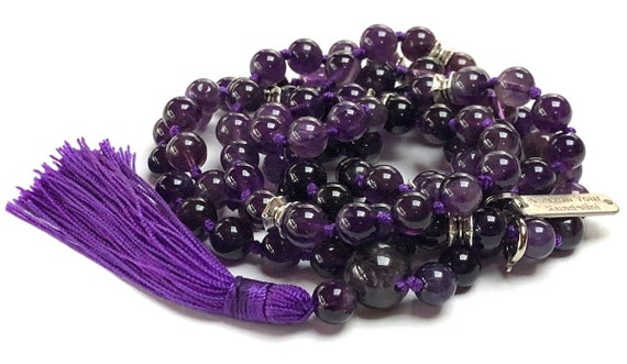 Sixth Chakra, Third Eye Chakra, 108 Amethyst Healing Mala Beads Psychic Ability, Meditation, Telepathy, Astral Travel, Visions, Intuition,