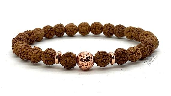Handmade Rudraksha Mala Beads Bracelet, Small Shiva Tears: Genuine Rudraksha Beads, Rudrakash Bracelet, Natural Indian Rudraksha Jewelry