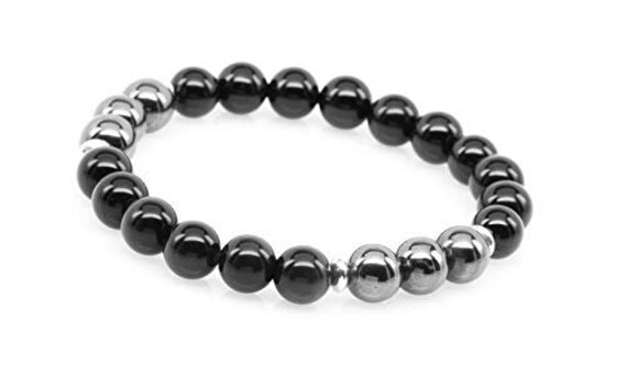 Black Tourmaline Bracelet || Hematite & Tourmaline Bracelet || Protects from Negative Energy || EMF, Empath Protection || October Births