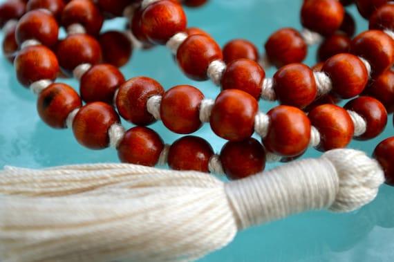 108 Wooden Dyed Hand Knotted Mala Beads Necklace - Blessed, Karma, Nirvana, Meditation, 8 mm, Prayer Beads For Awakening Chakra Kundalini