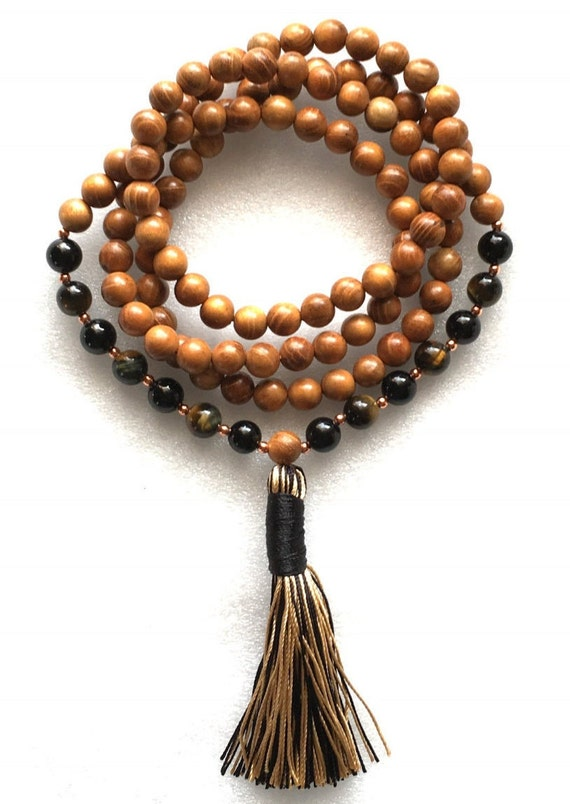 Cyber Monday Sale Root Chakra 108 Black Onyx, Mixed Tiger Eye Wrap Mala Wooden Bead Necklace, Grounding, Stability, Physical Sexual life,