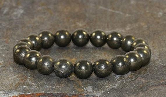 namaste pyrite mens women bracelet mens jewelry mala bead for men gift for dad gift for boyfriend gift for husband spiritual gift for him