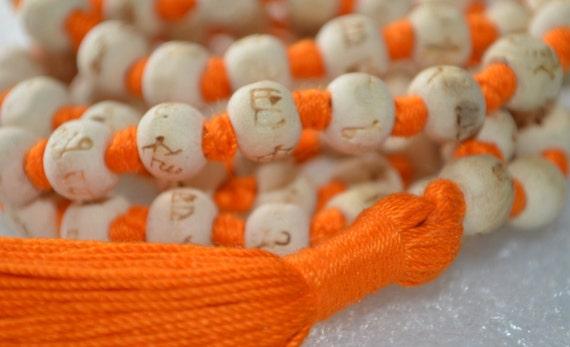 10mm Tulsi Holy Basil Hare Rama Krishna Hand Knotted Mala Beads Necklace Energized Karma Nirvana Meditation 108+1 Beads For Awakening Chakra
