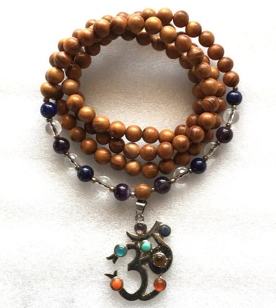 Seventh Chakra Mala, Crown Chakra Mala, 108 Wrap Mala Beads Necklace,Om Mala Beads, Wooden Wrap Mala, Cosmic Connection, Enlightenment